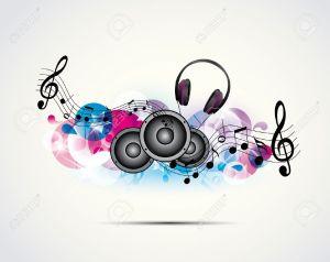 14398392-musica-di-sottofondo-colorato-con-le-cuffie-e-altoparlanti-archivio-fotografico